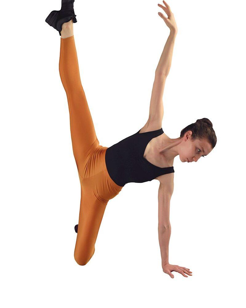 DUNE Damen/Mädchen Glänzende Nahtlose Hohe Taille 7/8 LYCRA Tanz-/Sport-Leggings (Gelbliches Braun)
