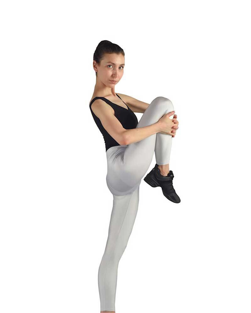 IRENE Damen/Mädchen Glänzende Nahtlose Hohe Taille 7/8 LYCRA Tanz-/Sport-Leggings (Silber)